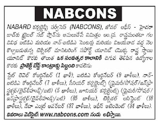 NABARD NABCONS  Andhra Pradesh Consultants, Data Entry Operator Jobs Recruitment Notification