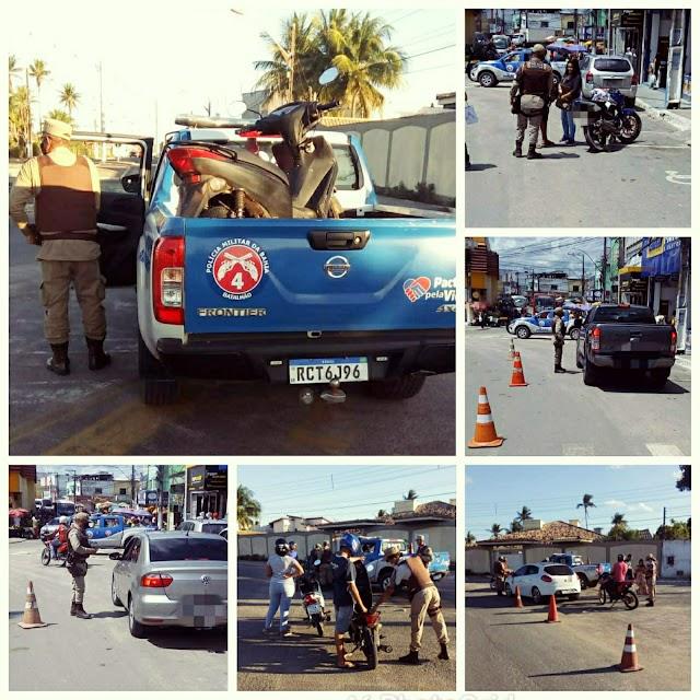 Policiais do Quarto Batalhão realizam a Operação Trânsito Seguro, em Alagoinhas