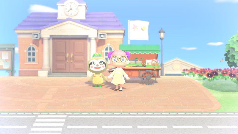 photo de moi dans animal crossing new horizons avec Racine