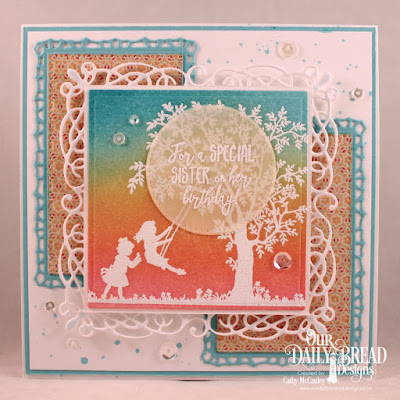 Our Daily Bread Designs Stamp Set: Sister In Christ, Paper Collection: Cozy Quilt, Custom Dies: Flourishy Frame, Squares, Pierced Rectangles, Pierced Circles, Lavish Layers