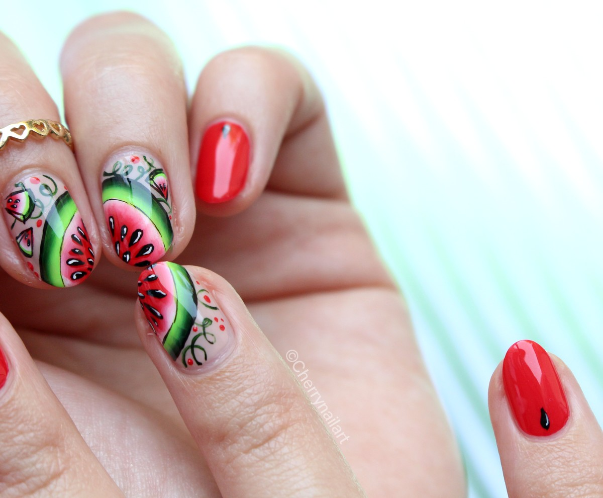 nail-art-pasteque-one-stroke-watermelon-été-summer-fruit