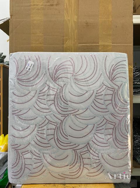 Hotfix stickers dmc rhinestone aplikasi tudung bawal fabrik pakaian corak moden dedaun besar maroon silver