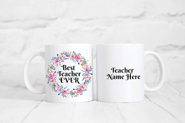 Best Teacher Ever personalized mug - Check out the brand new Max & Dot Co. Etsy shop for fun mugs and beautiful printables