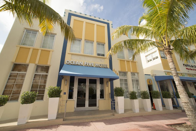 The Ocean Five Hotel is located in South Beach Miami, directly on Ocean Drive, in the Heart of the Art Deco District! The Ocean Five Hotel is just steps away from the South Beach shopping, diverse dining options, chic bars, lounges and night clubs, and miles of golden Atlantic sand beaches.