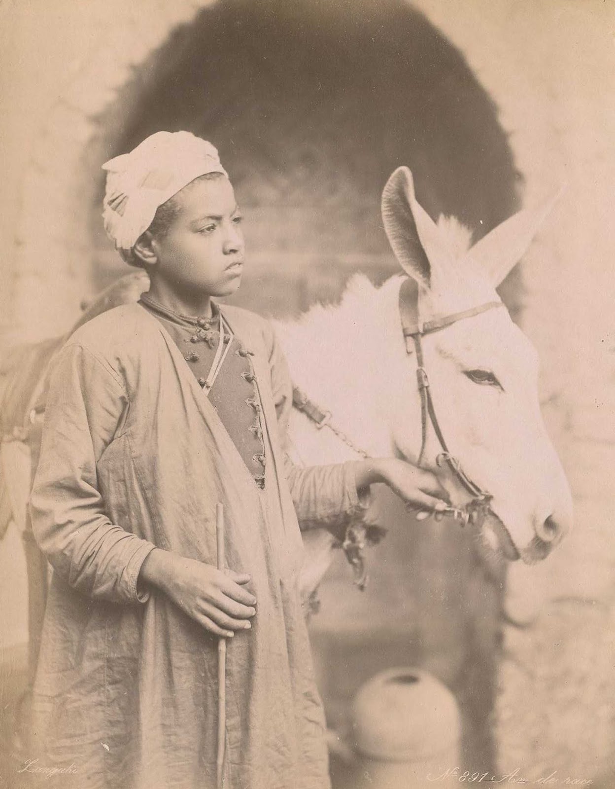Young boy with donkey.