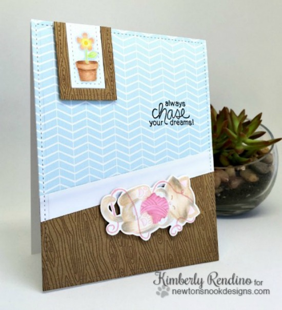 Cat and Yarn Card by Kimberly Rendino | Newton Unwinds Stamp Set & Die Set by Newton's Nook Designs #newtonsnook