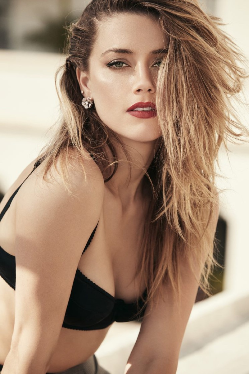 Amber Heard Poses in Black Lingerie for GQ Australia