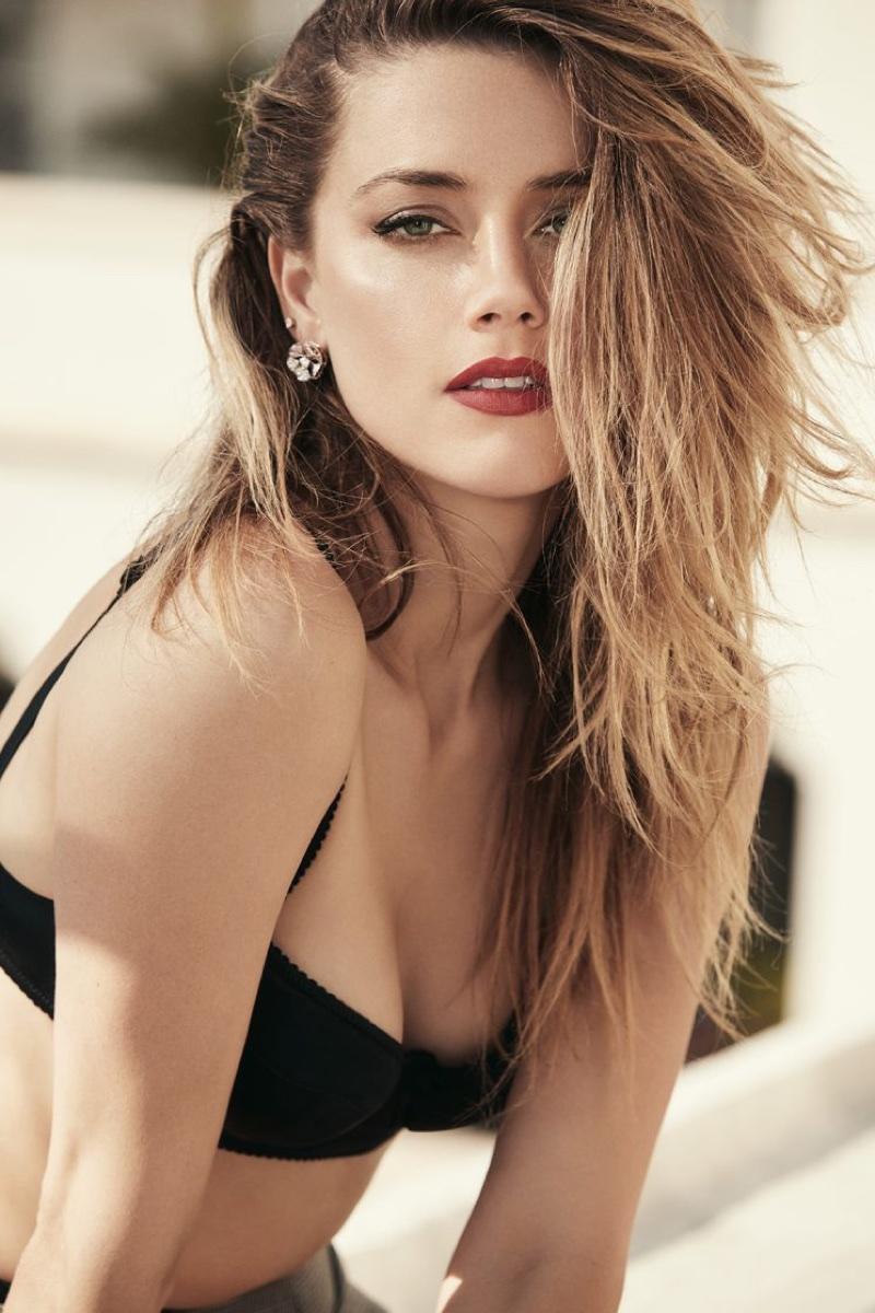 Amber Heard Poses in Black Lingerie for GQ Australia