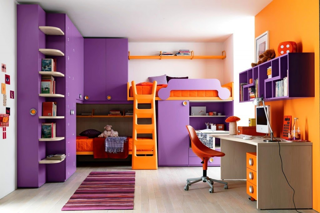 chambre ado fille couleurs violet et orange. Black Bedroom Furniture Sets. Home Design Ideas
