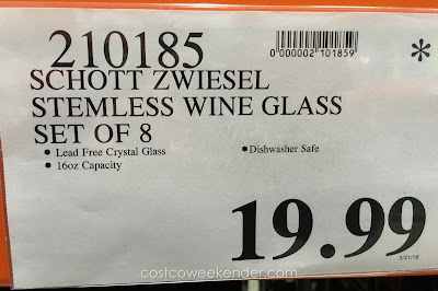 Deal for the Schott Zwiesel Studio Collection Stemless Wine Tumblers at Costco