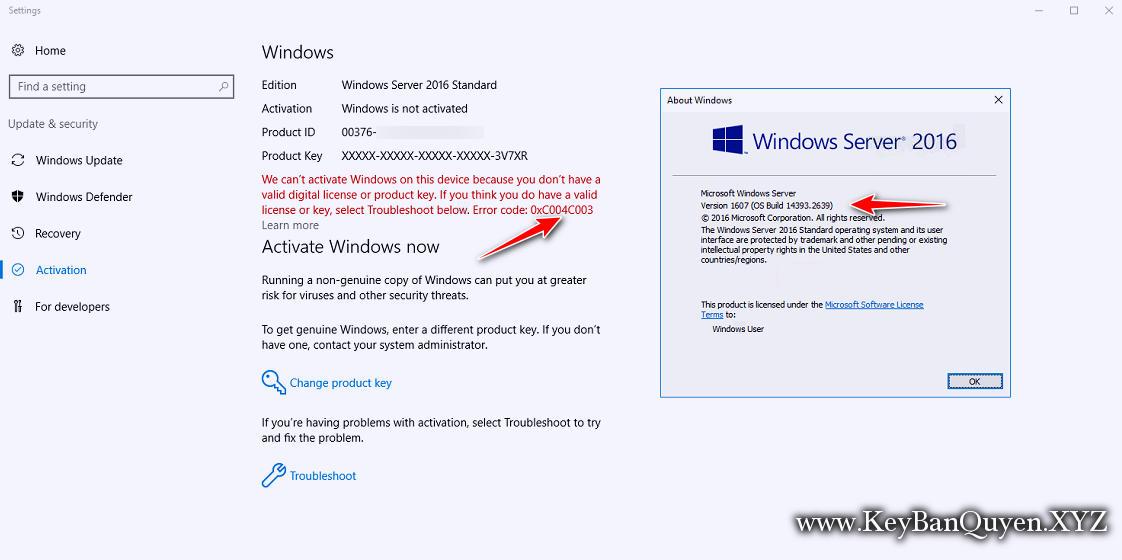 Hướng dẫn sửa lỗi 0xC004C003 khi kích hoạt Windows 10 và Server 2016