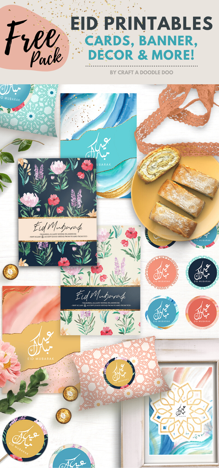 Free Printable Eid Celebration Pack: Eid Cards, Buntings, Envelopes and Eid Party Decor! / Craft A Doodle Doo #diy #eidcards #eid #ramadan #eid #greetings #printable #download #eidprintables #illustrations #graphics #watercolor #cards #partydecor #decor #homedecor #freebies