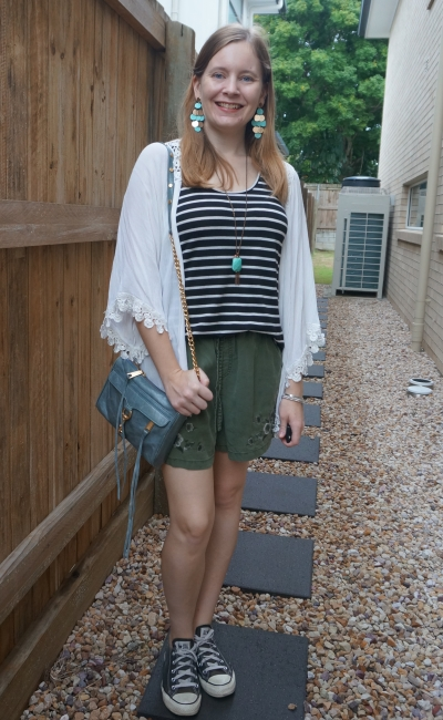 black striped tank and olive shorts outfit with white kimono blue and gold accessories earrings mini mac converse   awayfromblue