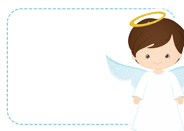 Cute Angel Boy: Free Printable Invitations, Labels or Cards.