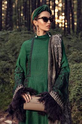 Maria B winter unstitched emerald green Color Dress