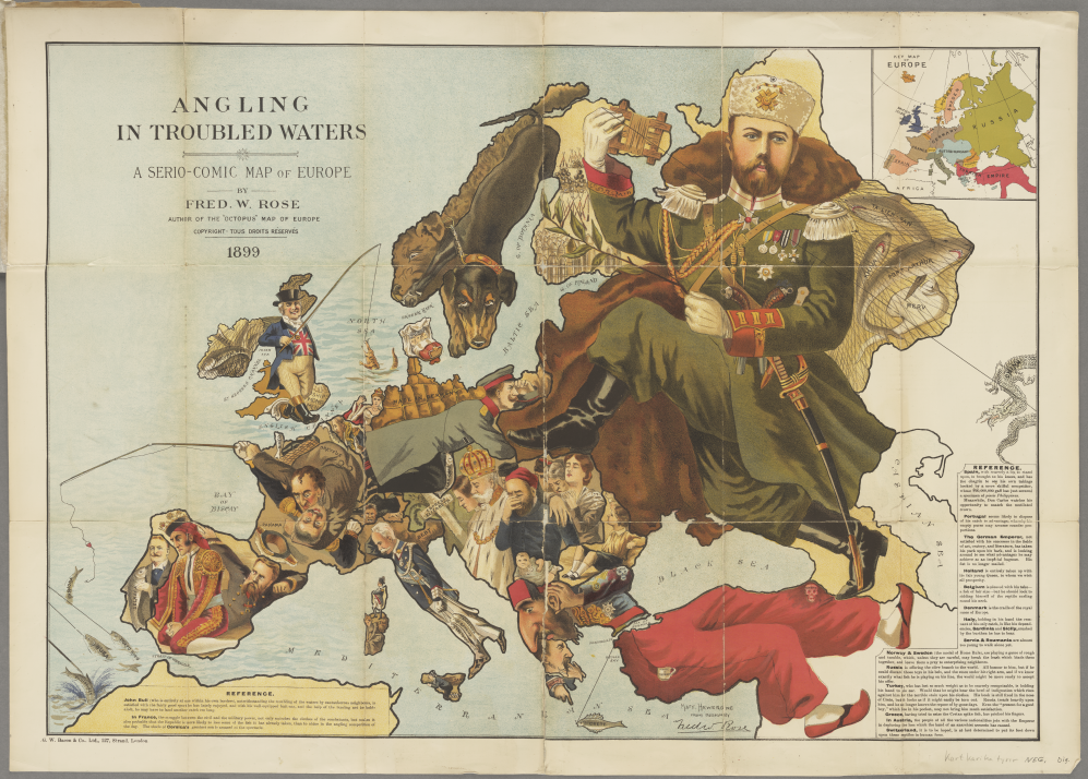 Angling in Troubled Waters, a Serio-Comic Map of Europe, by Fred W. Rose (1899)