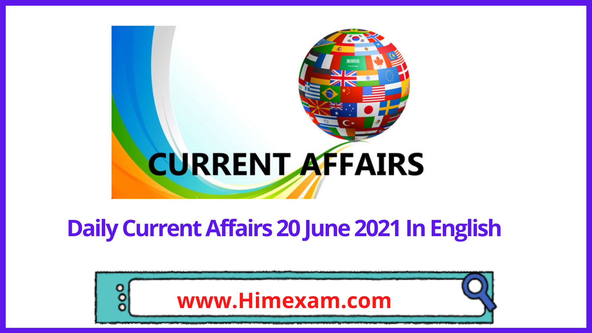 Daily Current Affairs 20 June 2021 In English