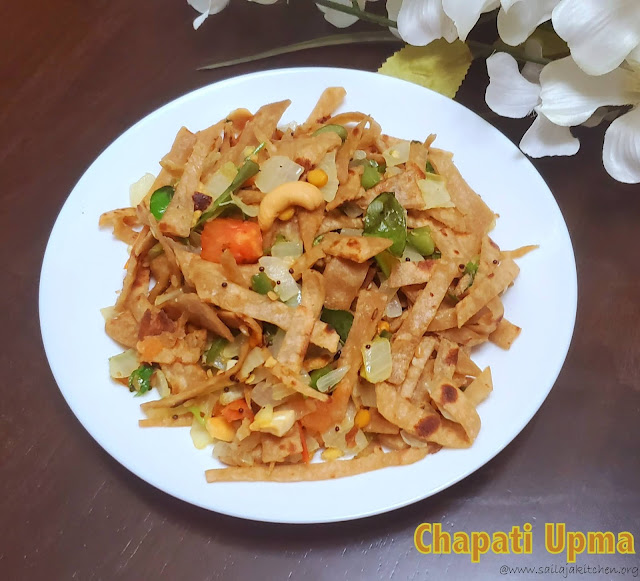 images of  Leftover Chapati Upma Recipe / Roti Upma / Chapati Upma