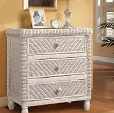 Outdoor Furniture, Wicker Nightstand, Wicker Outdooan & Brass Tommr Furniture, Santa Cruz 3 Drawer Wicker Chest Whitewash
