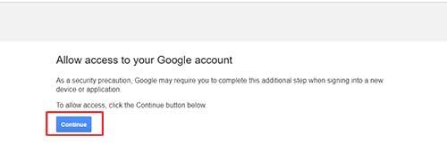 Hình 3 - Cho phép ứng dụng truy cập tài khoản Gmail