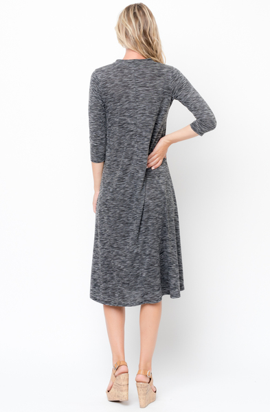 Shop for Black Swing Midi Dress 3/4 Sleeves Crew Neck Online on Caralase.com