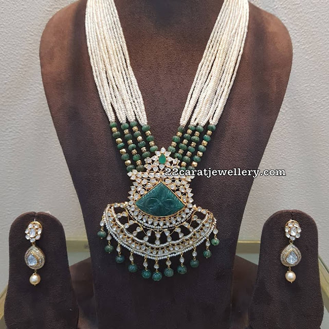 Pearls Haram with Curved Emerald Pendant