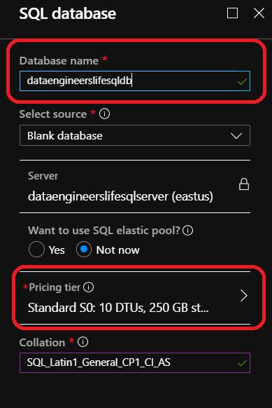 Azure DB creation screen