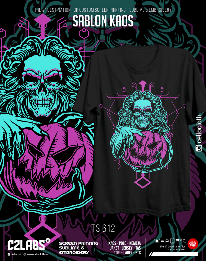 TS 612 Contoh Desain Kaos Sablon Rubber Manual Custom - C2 Labs Cellos Clothes