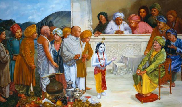 Krishna about Govardhana giri pooja to elder gopas