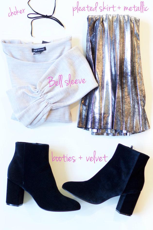 6 Fall Trends- choker, bell sleeves, pleated metallic skirt, velvet booties