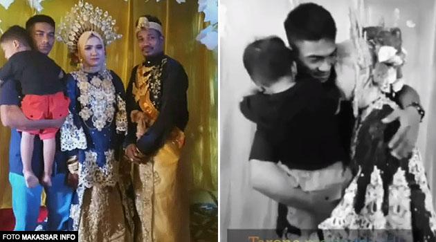 (Video) Pengantin menangis, bekas suami & anak datang ke majlis perkahwinan