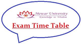 Mewar University Exam Date Sheet 2021
