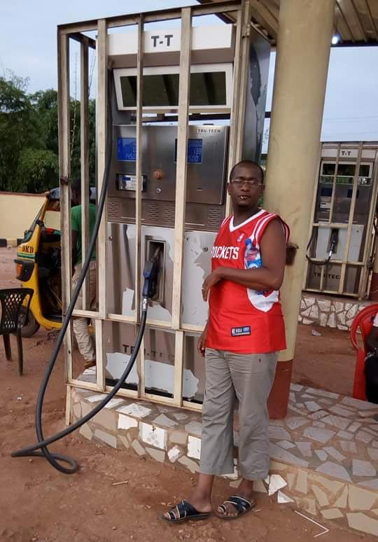 Check out how this fuel pump sighted inside an Enugu filling station was guarded