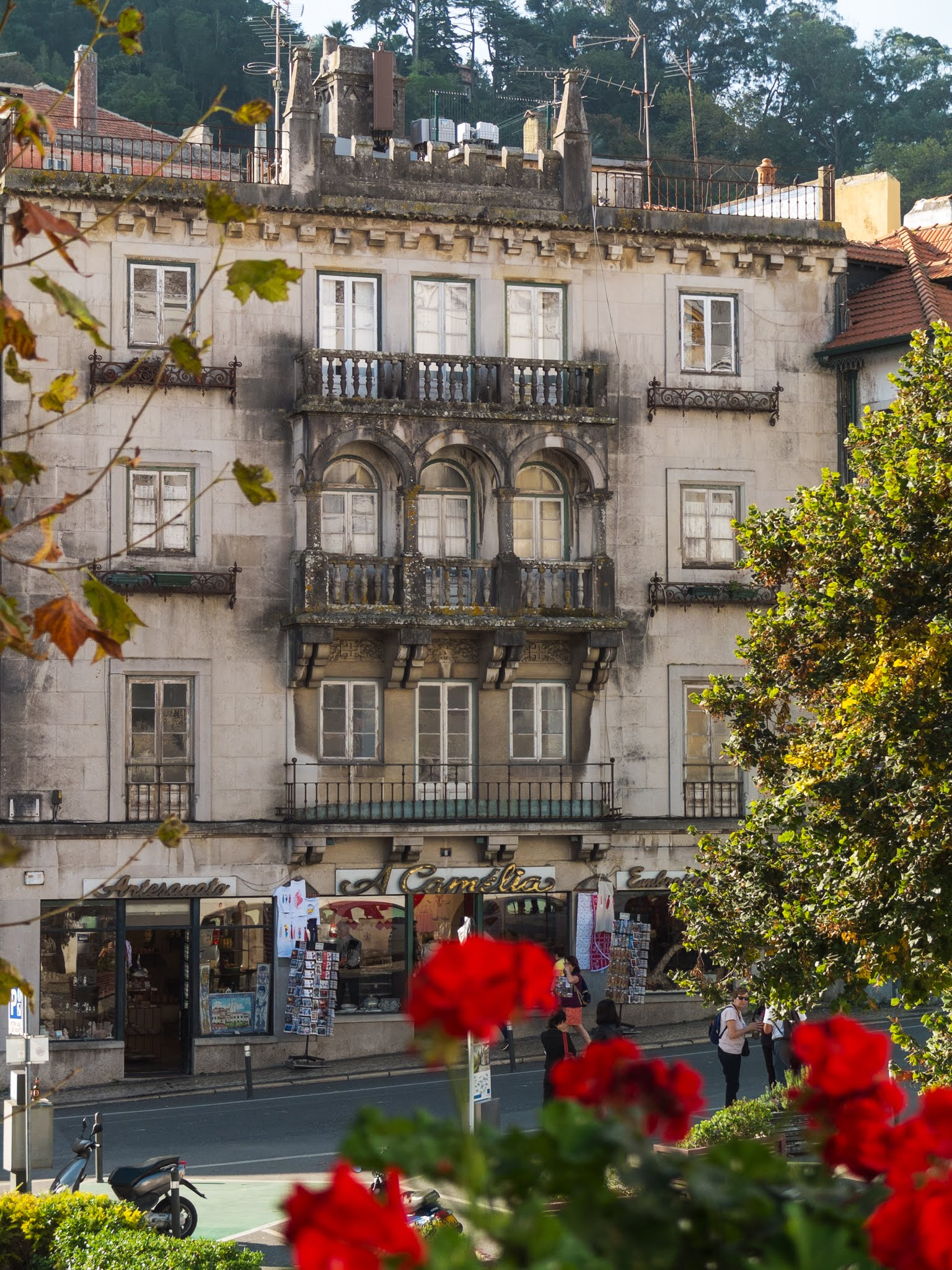 View of a building and red geraniums across from Sintra National Palace.