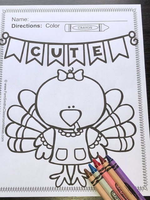 Your Students will ADORE these Coloring Book Pages for Thanksgiving, add it to your plans to compliment any Thanksgiving activity! Forty-eight (48) Coloring Pages For Some Thanksgiving Fun! Color For Fun Thanksgiving Printable Coloring Book Pages. Perfect for holiday party rewards, indoor recess, morning work, emergency sub tubs, fine motor skills, creative writing centers, story starters and more! Coloring Pages for Thanksgiving, Color For Fun Thanksgiving Coloring Book - Perfect for Many Different Types of Thanksgiving Activities in Your Classroom or Home!