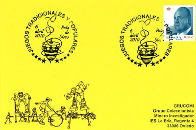 Tarjeta del matasellos del la Semana de Folclore de El Ventolín de Pola de Siero dedicada a los Juegos Tradicionales