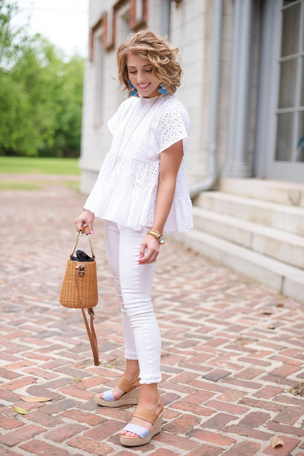 White on White + Pop of Blue - Something Delightful Blog