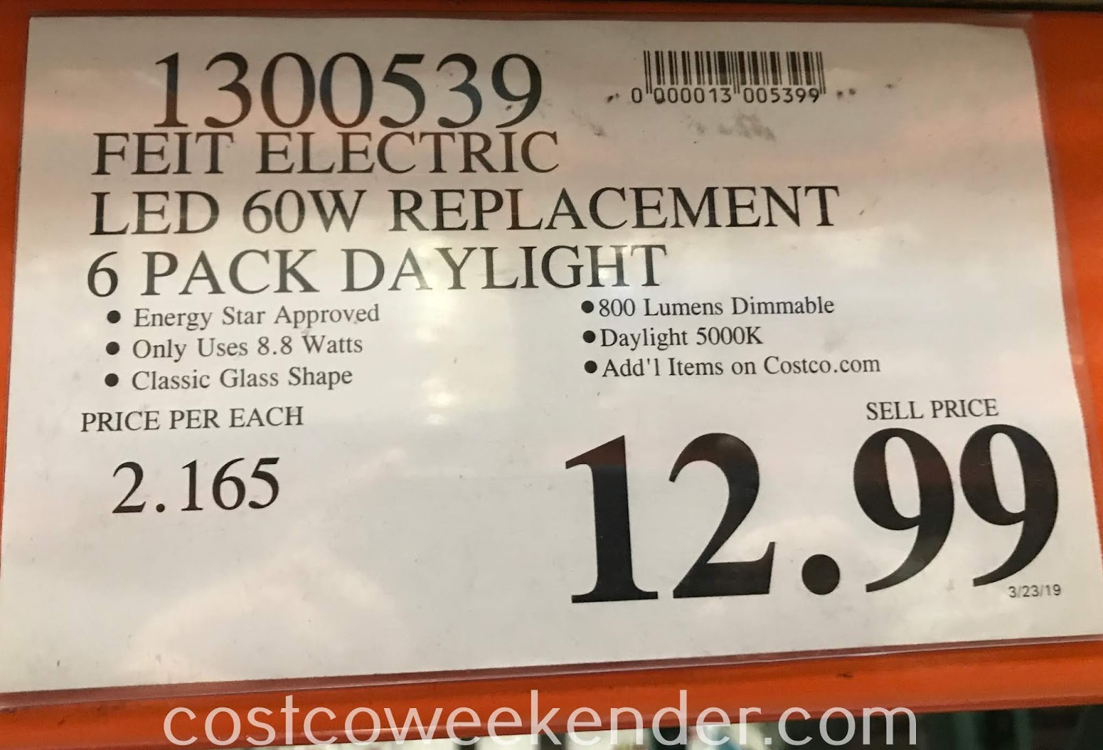 Deal for a 6 pack of Feit LED 60W Replacement Bulbs at Costco