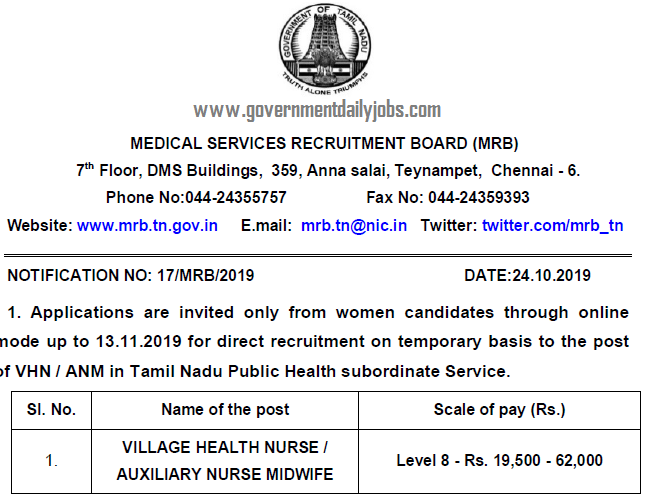 TN MRB ANM Jobs 2019