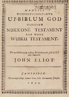 The title page for the Eliot Bible.