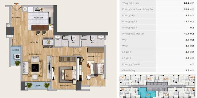 Thiết kế căn hộ 2 ngủ điển hình chung cư MON CENTRAL