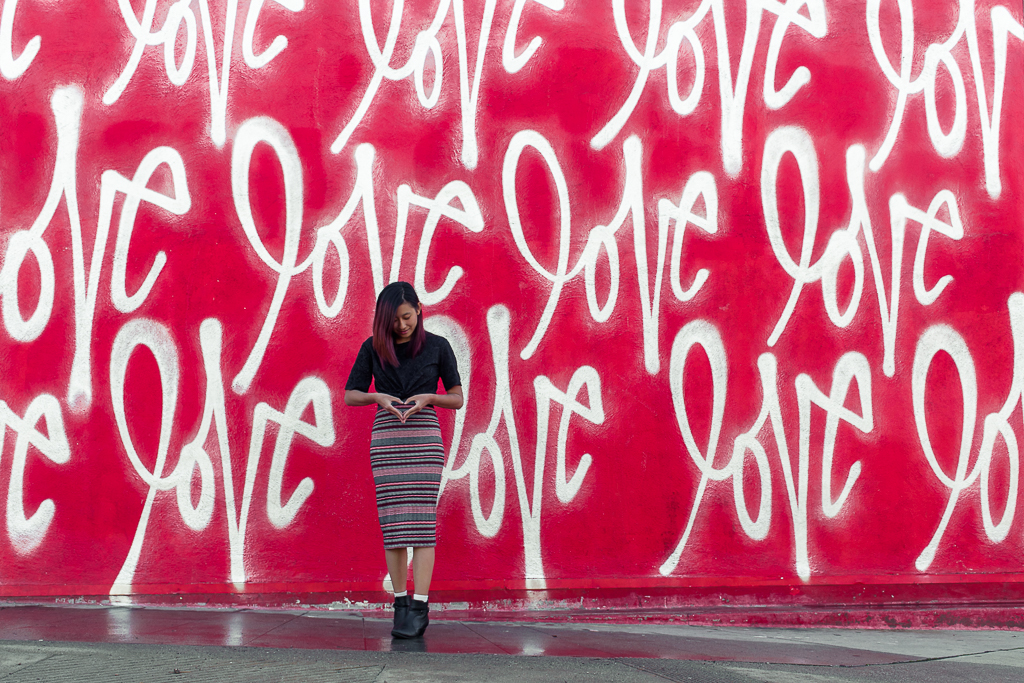 street art and love wall in los angeles california
