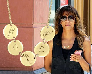 Halle Berry family name necklace