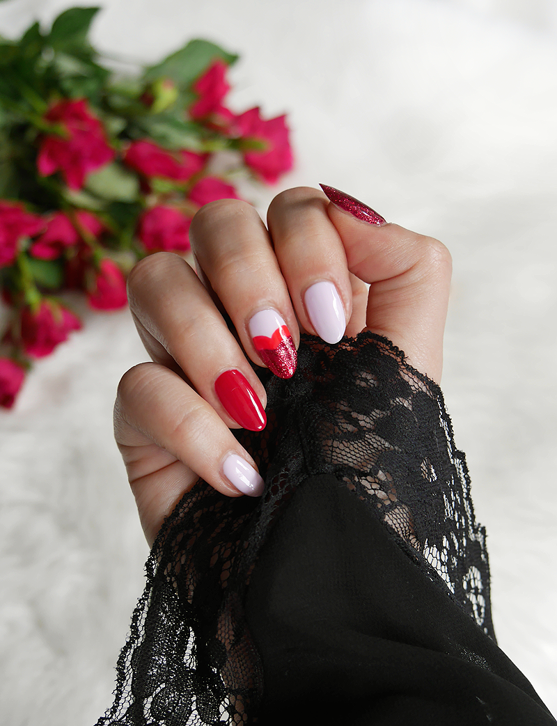 manicure walentynkowy, manicure semilac