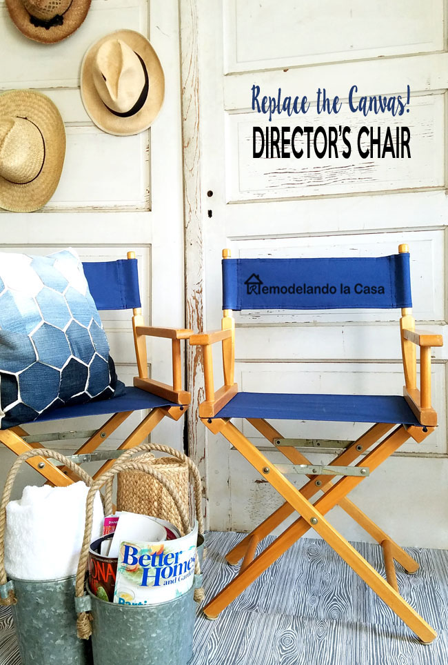 two directors chairs with blue canvas - old vintage door background - hats on doors -