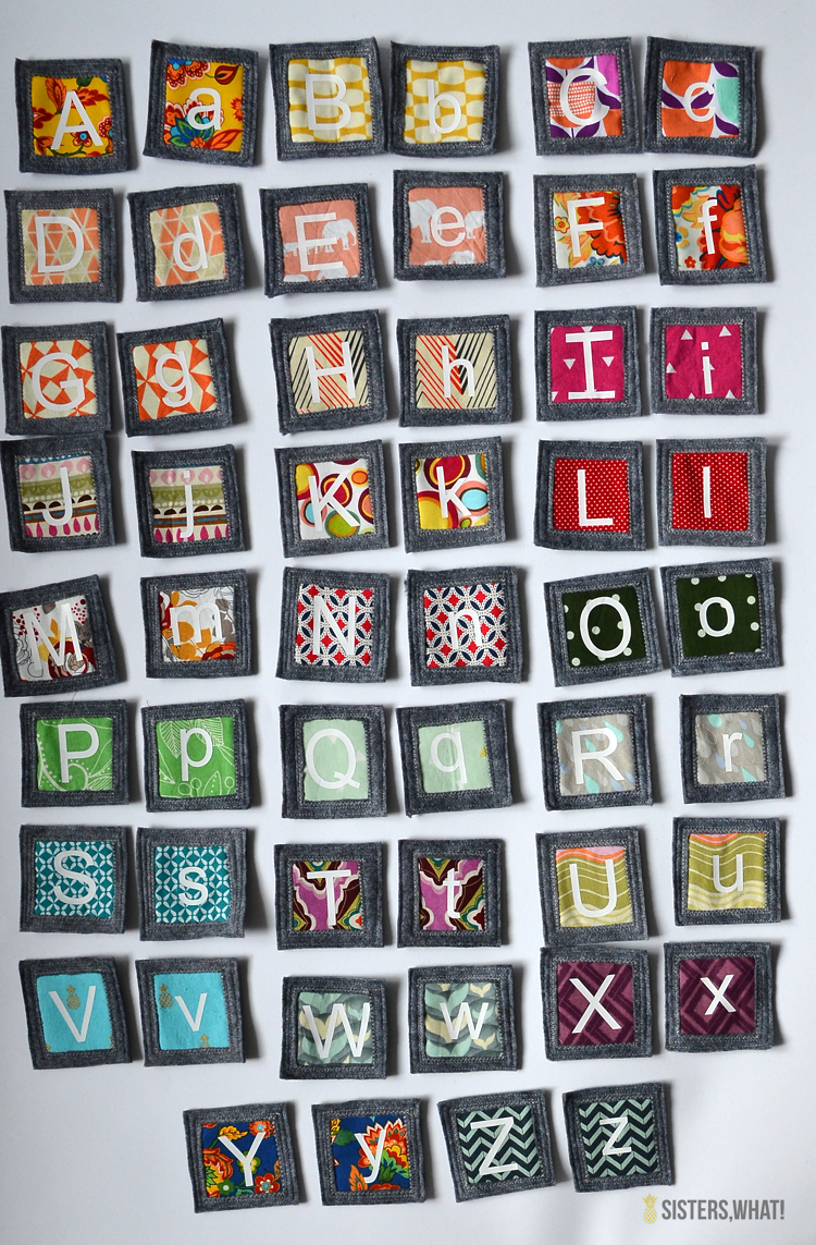 DIY little sewing project scrap and felt fabric memory game using heat transfer vinyl