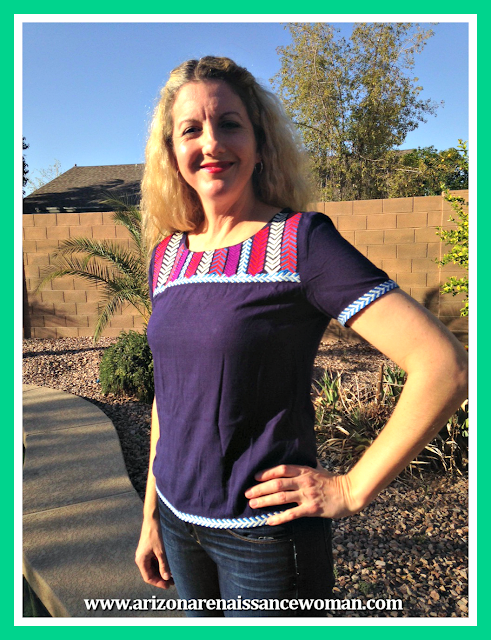 February 2016 Stitch Fix Review - THML Longoria Embroidery Detail Top