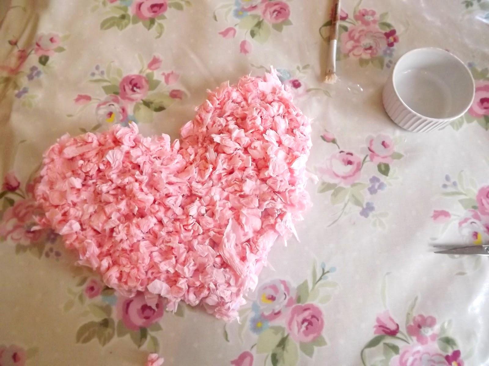Tissue Paper Heart Garland