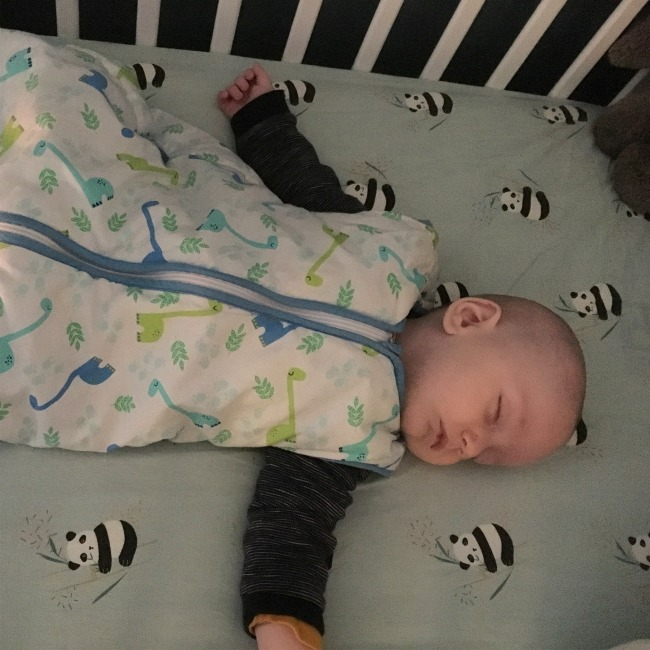 baby-asleep-in-cot-lying-on-sheet-decorated-with-pandas