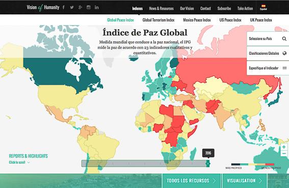 Mapa indice de paz global